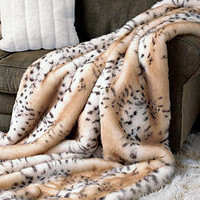 Snow Leopard Faux Fur Limited Edition Throw Blankets | Fabulous-Furs