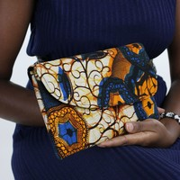 African Print Clutch Purse- Blue/Yellow Floral Print
