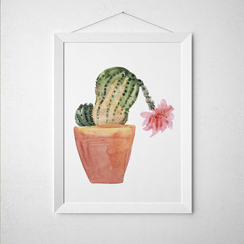 Flower print Potted plant poster Botanical art Watercolor print ACW637
