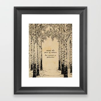Ralph Waldo Emerson - Pace of Nature Framed Art Print by 5pennystudio
