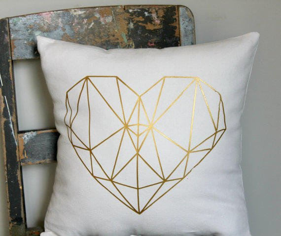 geo heart pillow cover gold love heart from north west decor