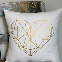 Geo Heart Pillow Cover, gold Love heart cushion, girls gold bedroom decor, metallic gold pillow, white gold heart cushion