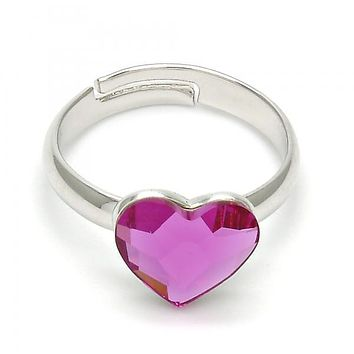 Rhodium Plated Multi Stone Ring, Heart Design, with Swarovski Crystals, Rhodium Tone