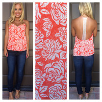 Coming Up Roses Crochet Back Top - ORANGE