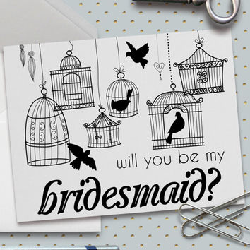 Will You Be My Bridesmaid Cards, Set of 5, 5.5 x 4.25 Inch (A2), Birdcages, Wedding Cards, Bridal Party, Whimsical Birds, Wedding Party