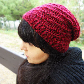 Hand knit slouchy hat, chunky knit wool beanie, womens winter knit hat, winter wool hat, slouchy red knit hat, womens accessories