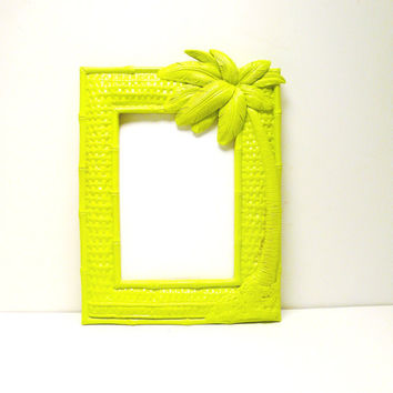 palm tree picture frame neon lime green upcycled frames by nashpop