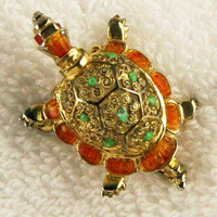 Turtle Brooch Signed Germany Sterling Silver Green Brown Enamel Red Eyes 2' Vintage