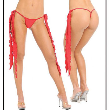 Long Tie Sides Y Back Thong