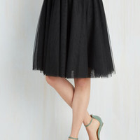 80s Mid-length High Waist Turning in Tulle Skirt in Black by ModCloth