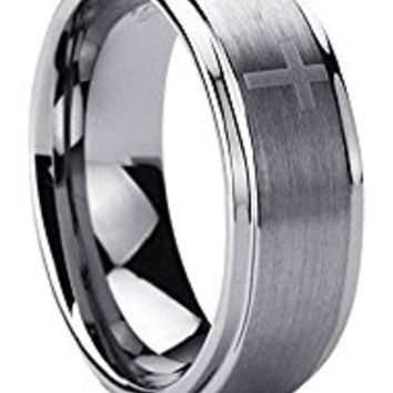 8MM Titanium Comfort Fit Wedding Band Ring Laser Etched Cross Pattern Ring