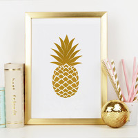 PINEAPPLE DIGITAL ART,Pineapple Print,Pineapple Wall Art,Gold Pineapple,Gold Foil,Ananas Print,Kitchen Wall Art,Printable Art,Kitchen Decor
