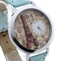 Women Wristwatch Wrist Watch PU Band Roman Numerals Paris Eiffel Tower Vintage = 1956648772