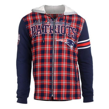 Men's New England Patriots NFL Klew Navy Flannel Hooded Jacket
