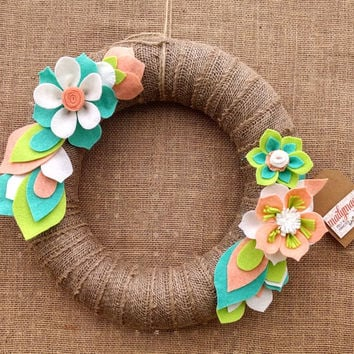 Burlap wreath, summer felt flower wreath, mantel decor, door decor, aqua, peach, green, burlap floral wreath, large 14 inch, READY TO SHIP