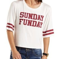 Sunday Funday Graphic Varsity Tee by Charlotte Russe - Ivory