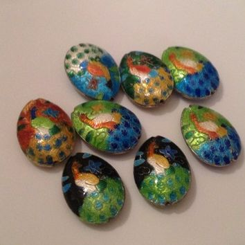 25x20mm puffed oval Egg with peacock bird cloisonne enamel loose beads