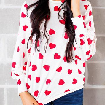 Doubleal Womens Heart Printed Long Sleeve Tops Tee Shirts Valentines Day Gifts For Her