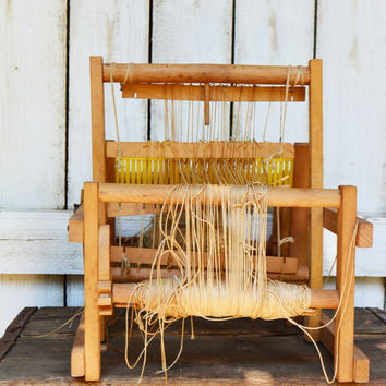 West German Wooden Weaving Loom, 1950's MABU-LOOM with Instructions,  Hand Weaving Tool