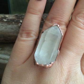 Quartz Ring Size 7.5 / Raw Crystal Ring / Gypsy Ring / Large Raw Quartz Ring / One of a kind Handmade Copper Electroformed Ring / Boho Ring