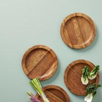 Etched Wood Canape Plate Set