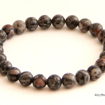 Gemstone Stretch Bracelet – natural fossil agate gemstones beads. Gray, yoga bracelet, simple, trendy, boho, simple, casual