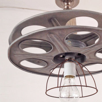 Industrial Chandelier - Film Reel, Media Room, Vintage Lighting, Hollywood Chandelier, Edison Bulb, Pendant, Repurposed Lighting