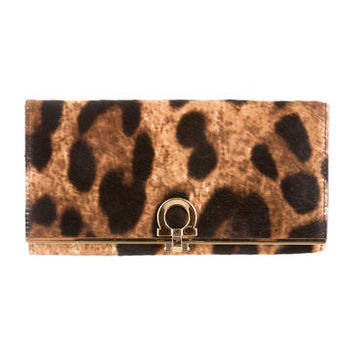 Salvatore Ferragamo Leopard Pony Hair Wallet