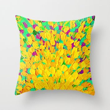 Supermarket: SPRING SPLASH Bright Cheerful Home Decor 18 x 18 Decorative Modern Throw Pillow Cushion Cover Lemon Lime Neon Yellow Green Ocean Abstract from Ebi Emporium