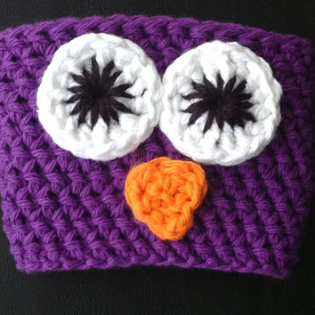 Purple Owl Cup Cozy for a Standard Size To-Go Cup; More Available in Our Shop!