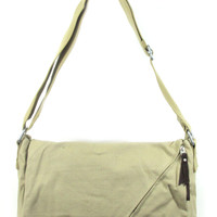 Canvas Messenger Bag with Front Zipper.  Cross Body. Beige.