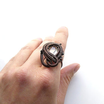 Citrine Ring, Copper Adjustable Ring, Wire Wrapped Woven Ring, Brown Yellow Ring