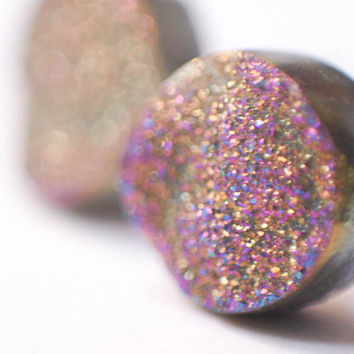 Boho Earrings - Sparkling  Moon - Rainbow Colorful Raw Druzy Round Titanium Stud Earrings - Black, Circle, Post, Jewelry, Hippie, Hipster