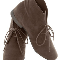 Dashing to Bootie in Deep Taupe | Mod Retro Vintage Boots | ModCloth.com