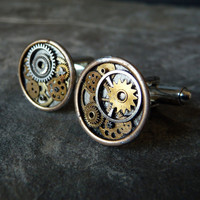 Clockwork Cufflinks Model Four Unique Soldered by amechanicalmind