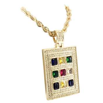 Mens Checker Board Pendant Multi Tone Glass Ruby Lab Diamond Charm + Rope Chain
