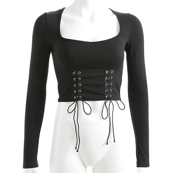 Gothic T Shirt And Skirt Women Set Lace Up T Shirt Square Collar Navel Tops Dragon Print