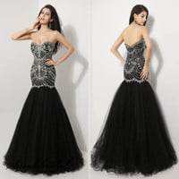 New Black Fishtail Prom Party Ball Dress Crystal Cocktail Evening Gown