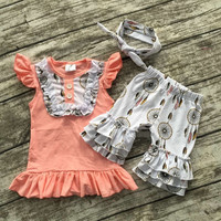 2016 Summer baby girls outfits baby girls dream catcher clothing bib top ruffle shorts sets kids boutique clothes with headband