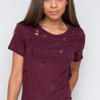 Don't Sweat It Distressed Top - Burgundy