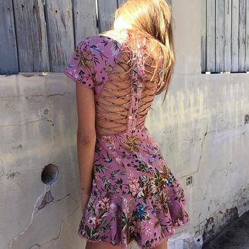 Fashion Luxury Runway Woman Pink Tropical floral print Lattice Dress cutout Crossover straps back lace trims Short Sleeved
