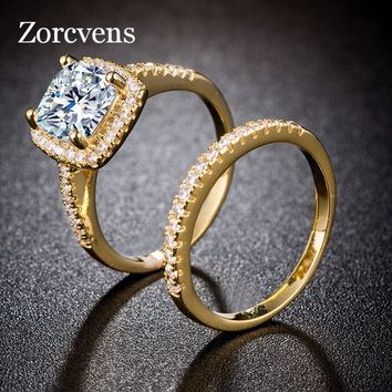 ZORCVENS Princess Cut Zirconia Gold and Silver Color Wedding Ring Set Engagement Band Classic Jewelry For Women
