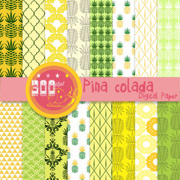 Pineapple digital paper 'pina colada' yellow and green pineapple backgrounds x 16
