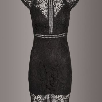 Heartbreaker Black Lace Bodycon Cocktail Dress
