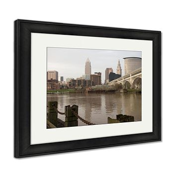 Framed Print, Cleveland Ohio Downtown City Skyline Cuyahoga River