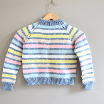 Hand Knitted Stripe Sweater Size 3 - 4 Years Old #k012a