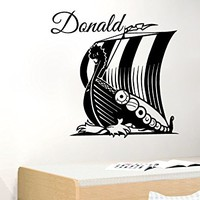 Viking Ship Wall Decal Nursery Name Personalized Custom Decals Vinyl Sticker Boat Longboat Art Home Decor Mural Baby Decor MS786 (28Tall)