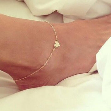 Heart-shaped Anklet Gold