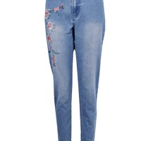 Sophie High Waist Embroidered Mom Jeans | Boohoo