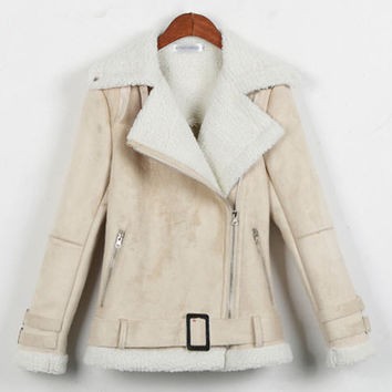 Jaqueta De Couro Feminina 2016 New Fashion Winter Suede Motorcycle Jacket Lamb Wool Coat Thick Warm Slim Leather Outerwear A627
